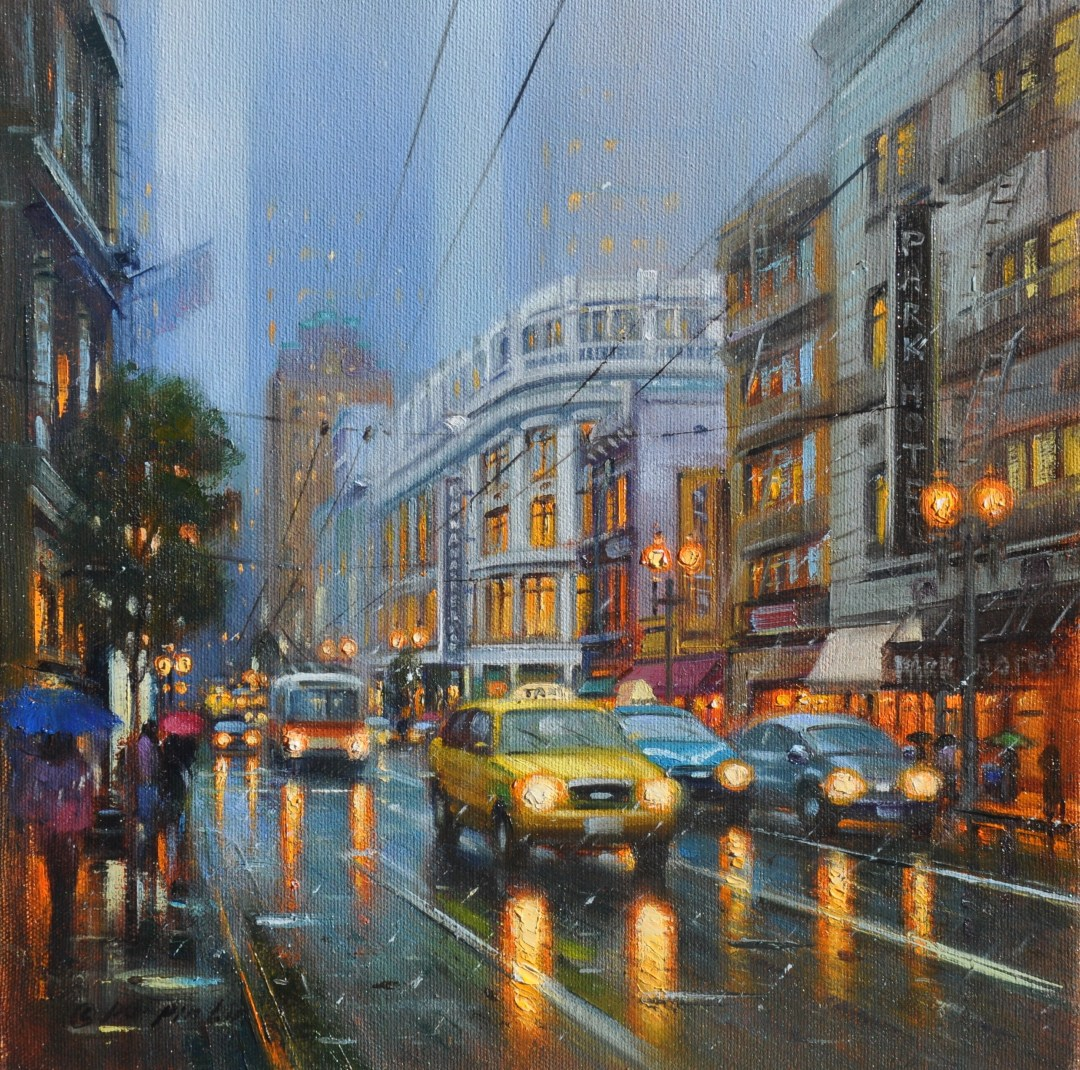 Entering San Francisco on Rainy day, 12x12