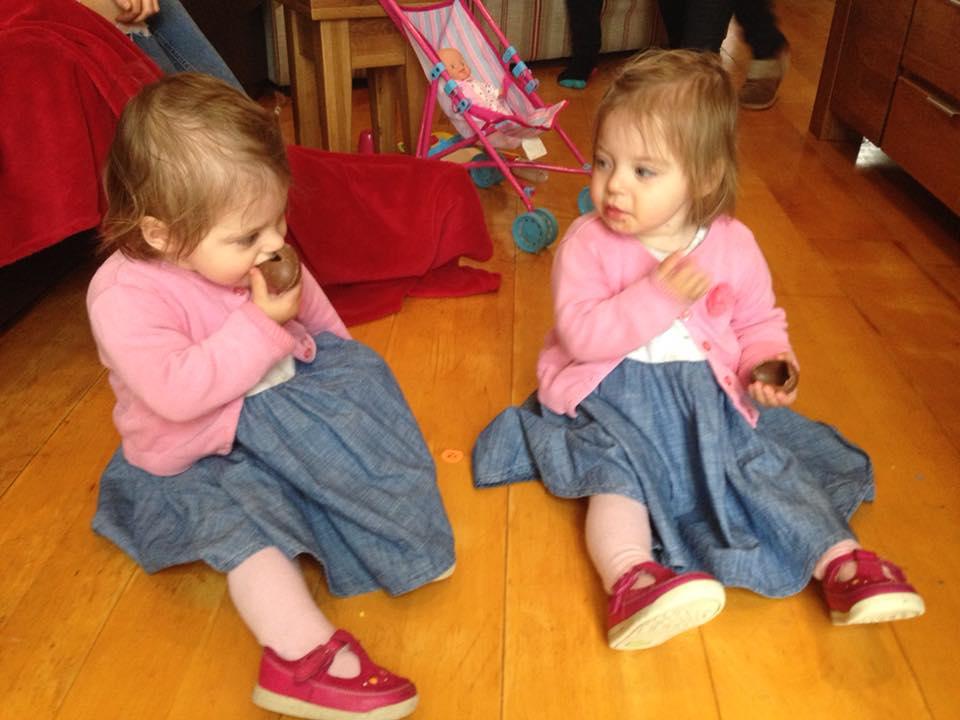 the popitha twins eating chocolate at grandmas