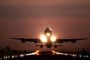 airplane on the runway taking off