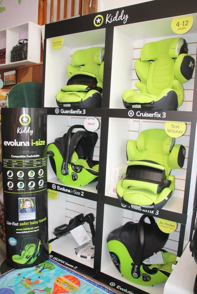 children's car seats on display at whites farm baby barn