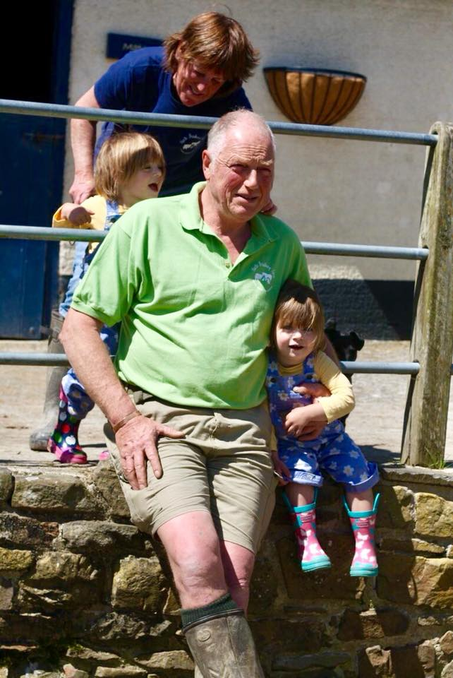 Farmer Chris with the Popitha Twins at North Bradbury Farm