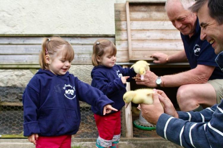 The Popitha Twins are helping Farmer Chris move the ducklings
