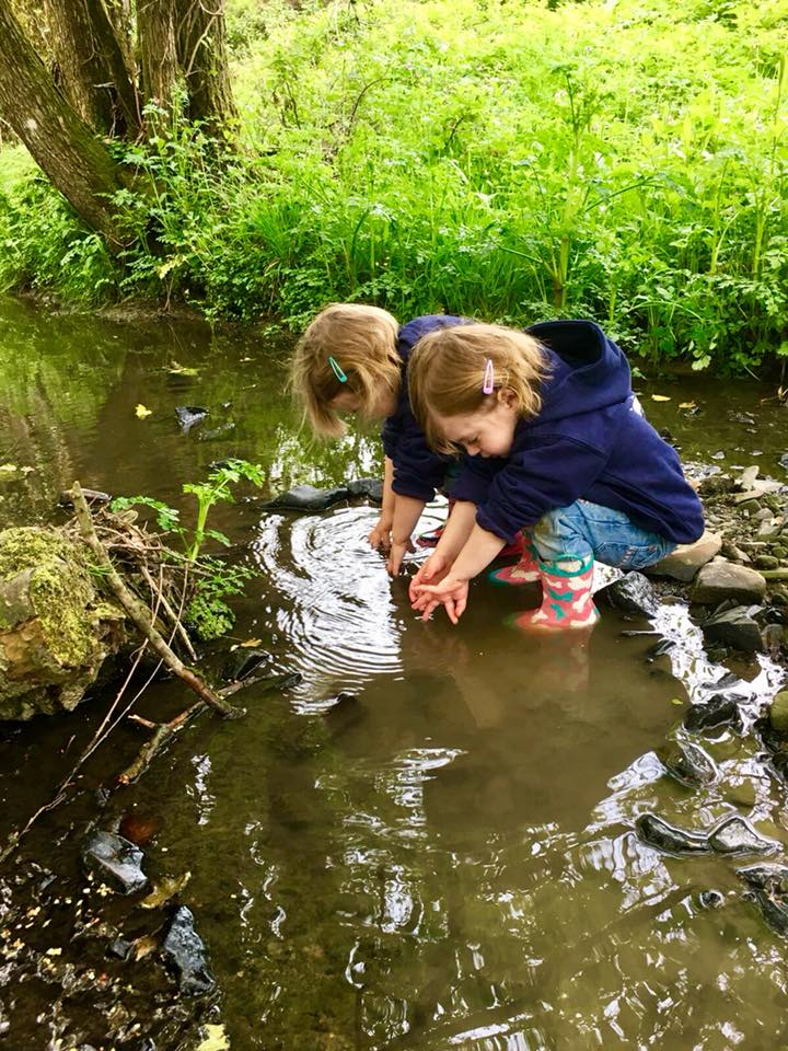 The Popitha Twins playing in the stream in the wilderness area North Bradbury Farm