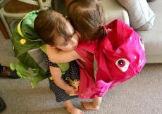 Twins wearing swimming bag from Little Life UK