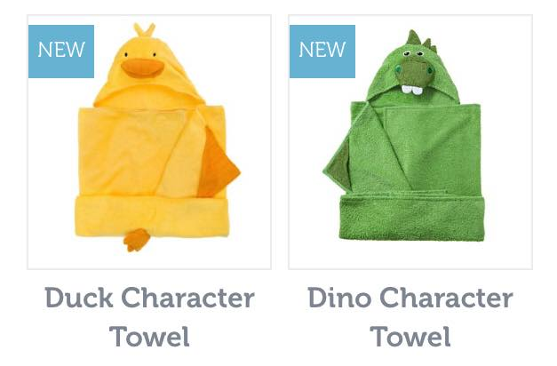 soak and sleep duck and dinosaur themed towels