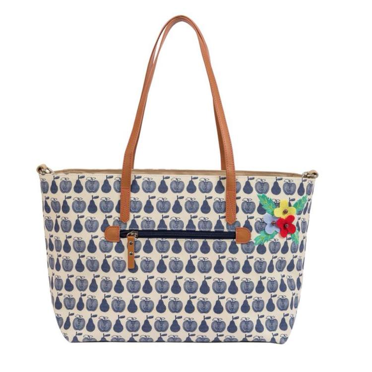 Pink Lining blue apples and pears tote bag. The perfect product for a mummy at a baby shower.