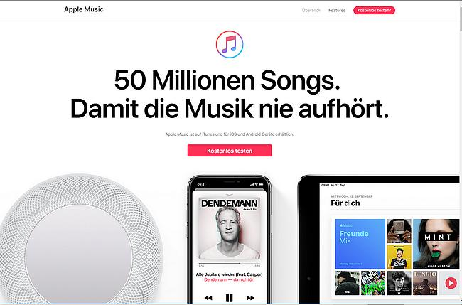 Apple Music Webseite