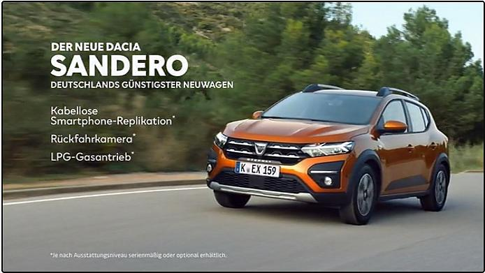 Screenshot aus der Dacia Sandero Werbung