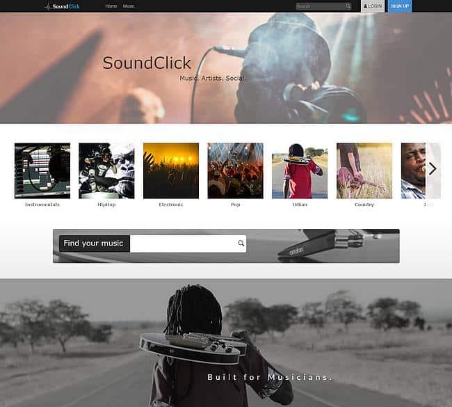 Webseite Soundclick.com