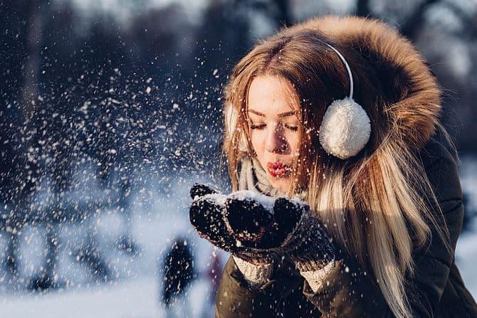 Frau, Schnee, Winter