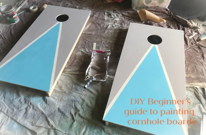 How to custom paint your own cornhole game! Easy steps to decorate your cornhole game for fun at parties, events, fundraisers or backyard play! #cornhole #howto #DIY | Poplolly Co