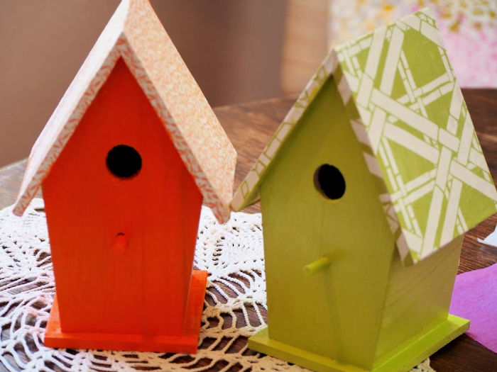 colorful example of ways you can paint your own birdhouse | Poplolly co.