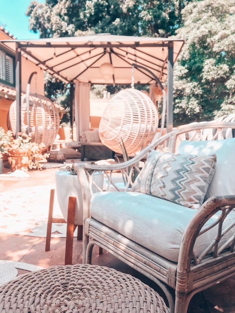 boho outdoor decor | rattan chair | hanging swings papasan chair | pergola | patio ideas | deck design | mediterranean home | Poplolly co