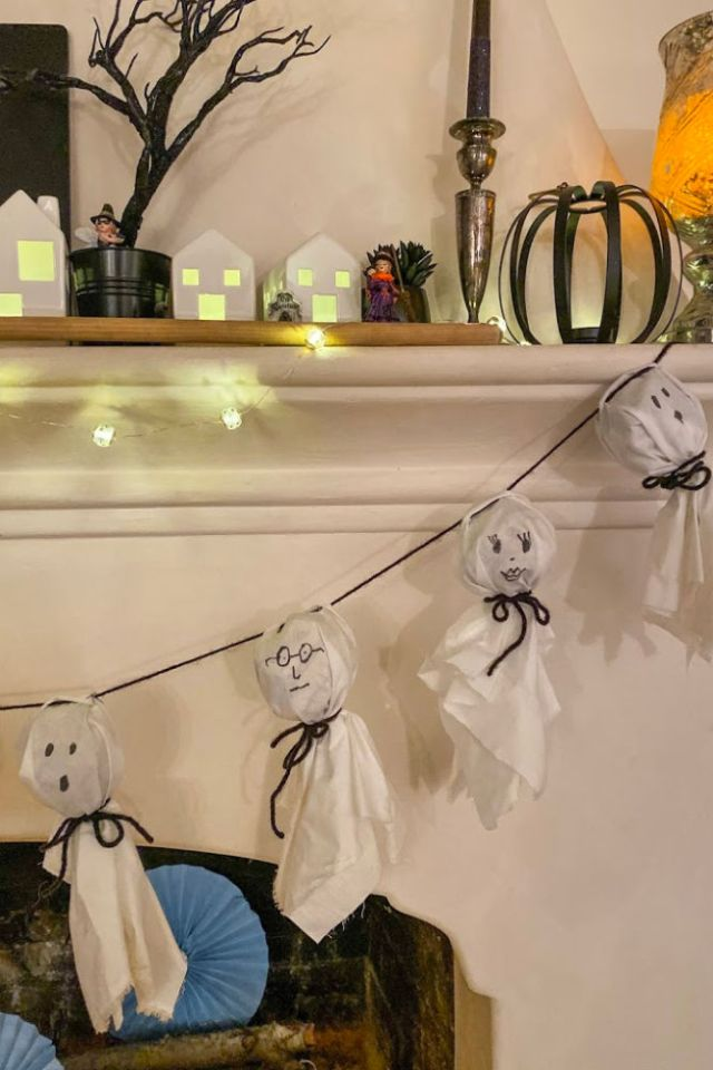 DIY Ghost Garland Halloween Mantle Decor | Poplolly co