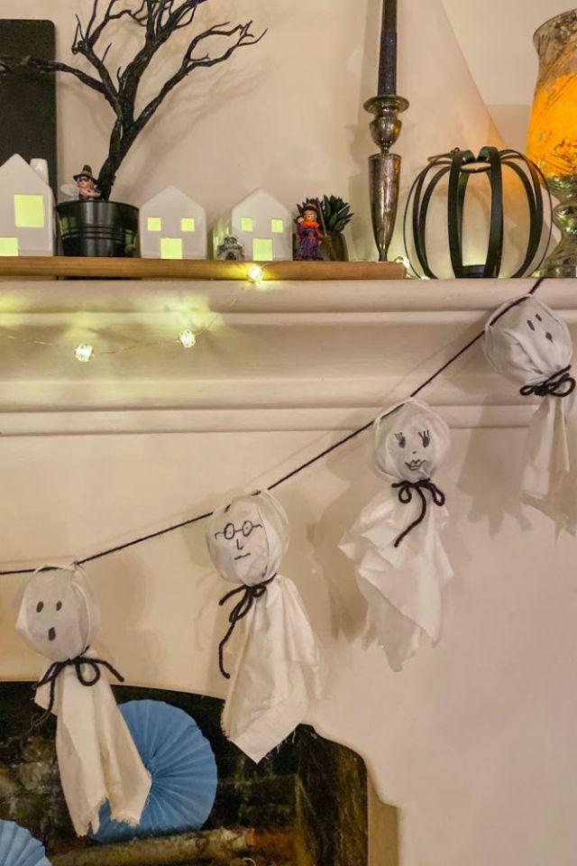 DIY Ghost Garland Halloween Mantle Decor | Poplolly co