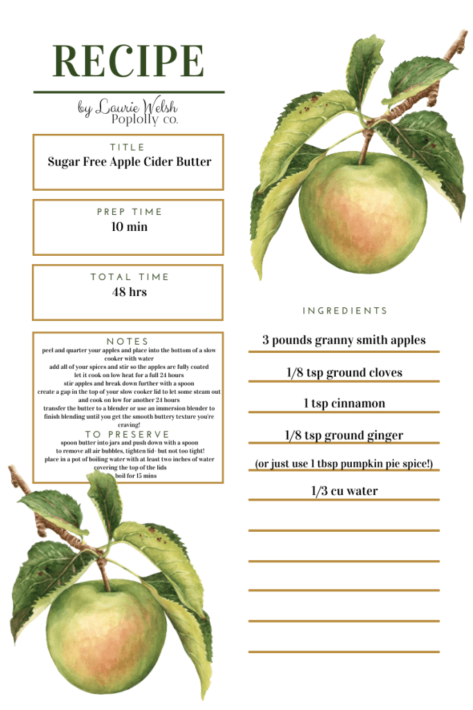 Fall Shower Favor Idea Sugar Free Apple Cider Butter Recipe | Poplolly co
