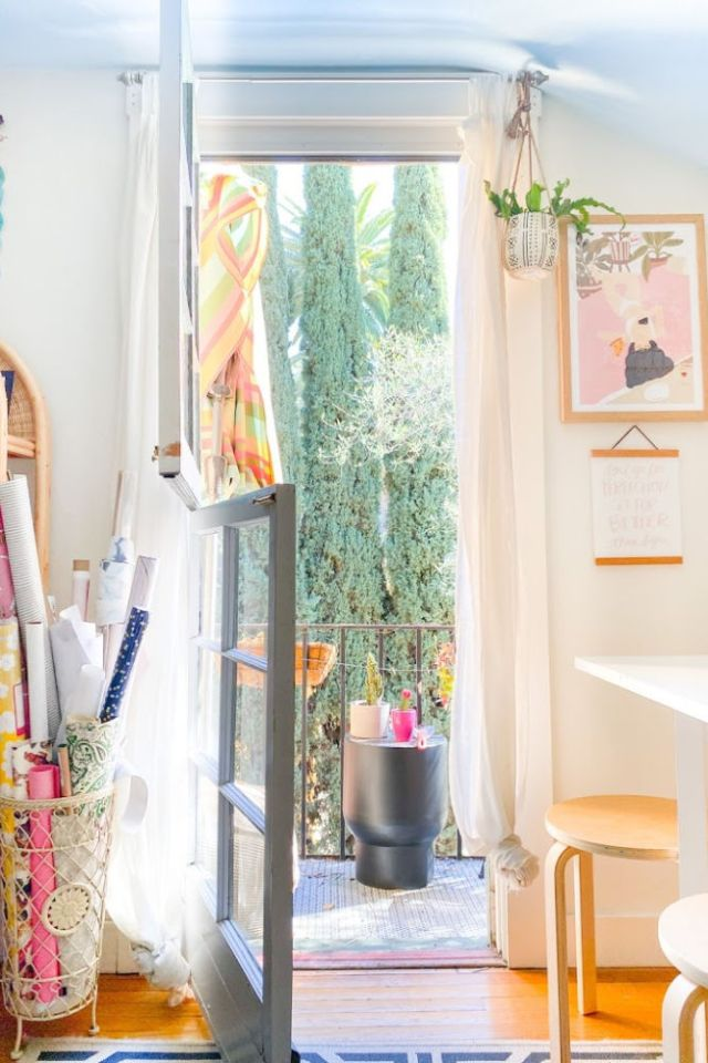 balcony door to my California Beach Home Office tour | Poplolly co