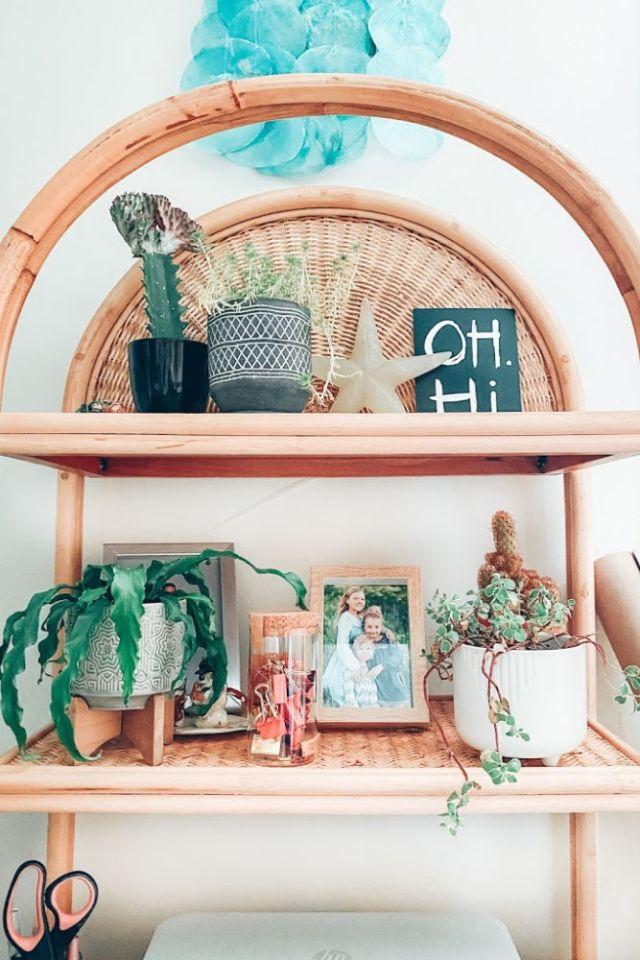 California Beach Home Office Reveal Rattan Bohemian bookshelf | Poplolly co