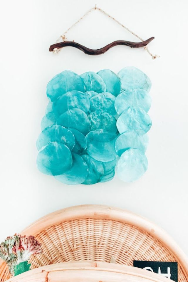blue capiz shells for a modern bohemian california home office | Poplolly co