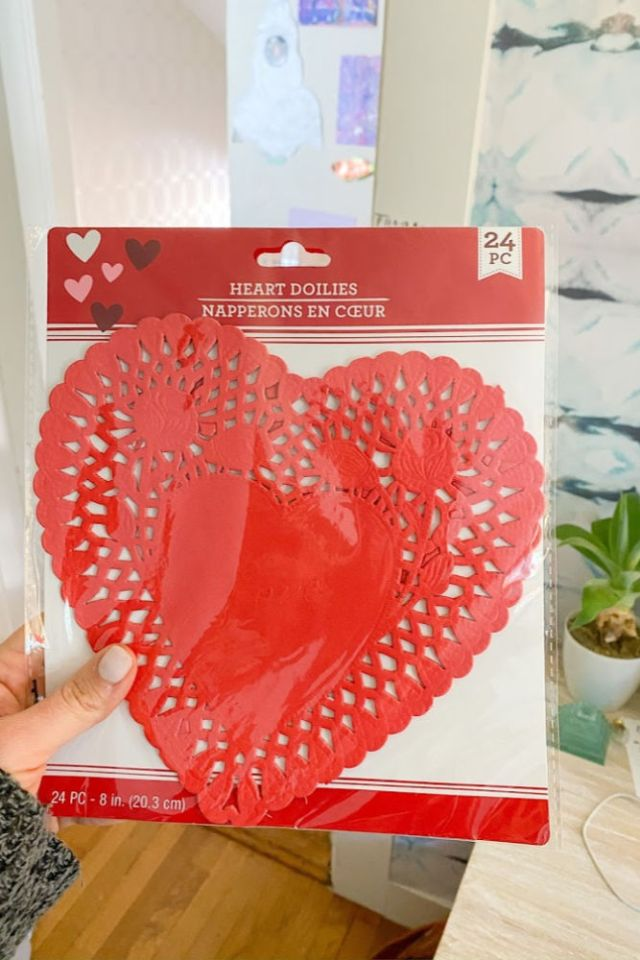 heart doily used as a stencil for DIY Galentine apron |