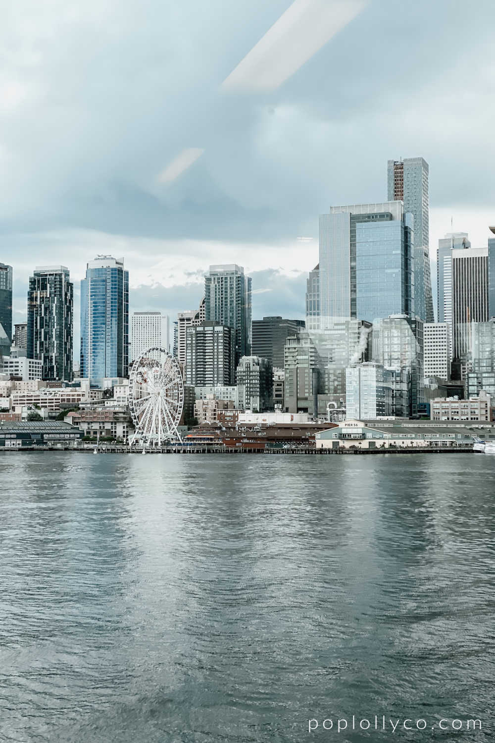 view of downtown Seattle from the ferry | things to do in Bainbridge Island | Poplolly co