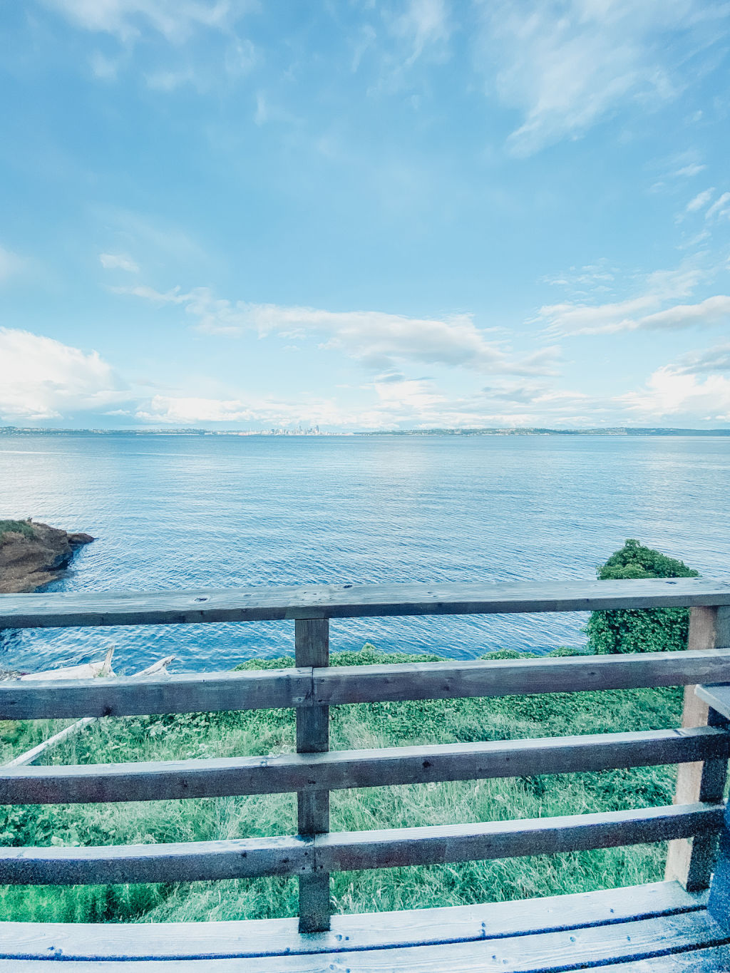gorgeous views of the water and seattle from our deck on Rockaway Beach in Bainbridge Island | Poplolly co