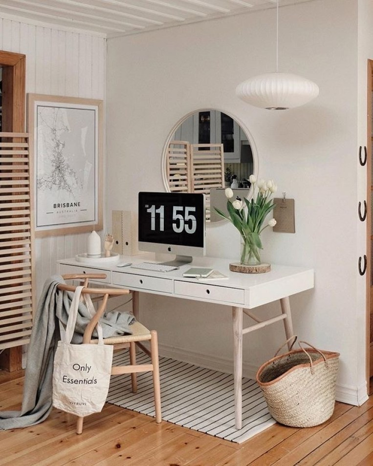 white modern desk, round mirror, simple and neutral | Poplolly co