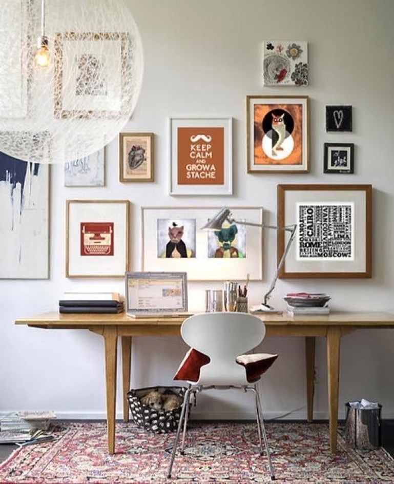 vintage, home office gallery wall | Poplolly co
