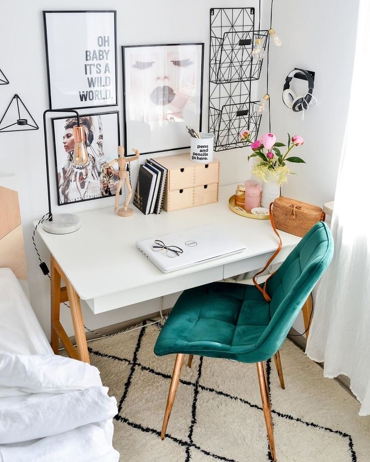 green chair, white modern desk, gallery wall, home office corner by bed, bohemian | Poplolly co