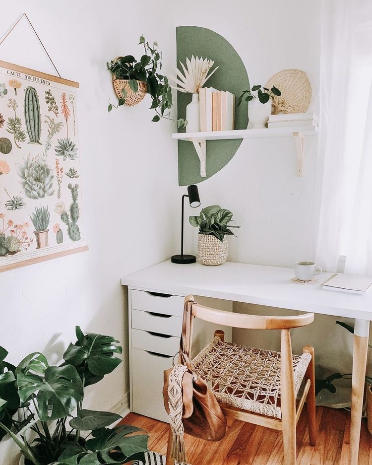 color block wall, macrame chair, green plants, modern white desk, simple clean bright corner home office | Poplolly co