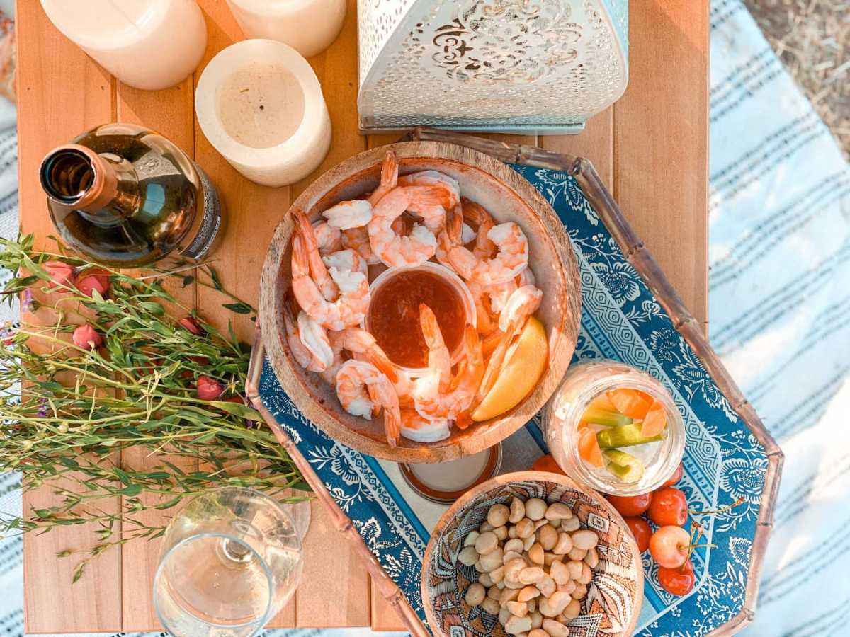 shrimp cocktail and charcuterie board for a picnic date | Poplolly co