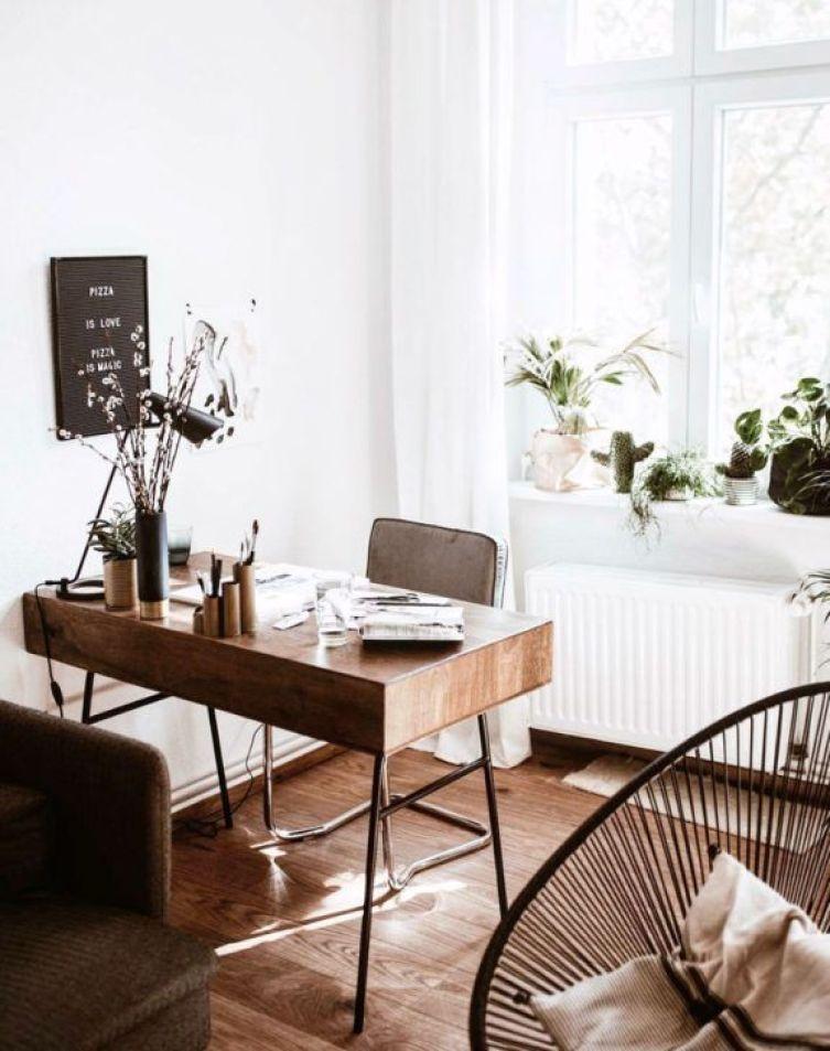 wooden desk in front of window | Poplolly co