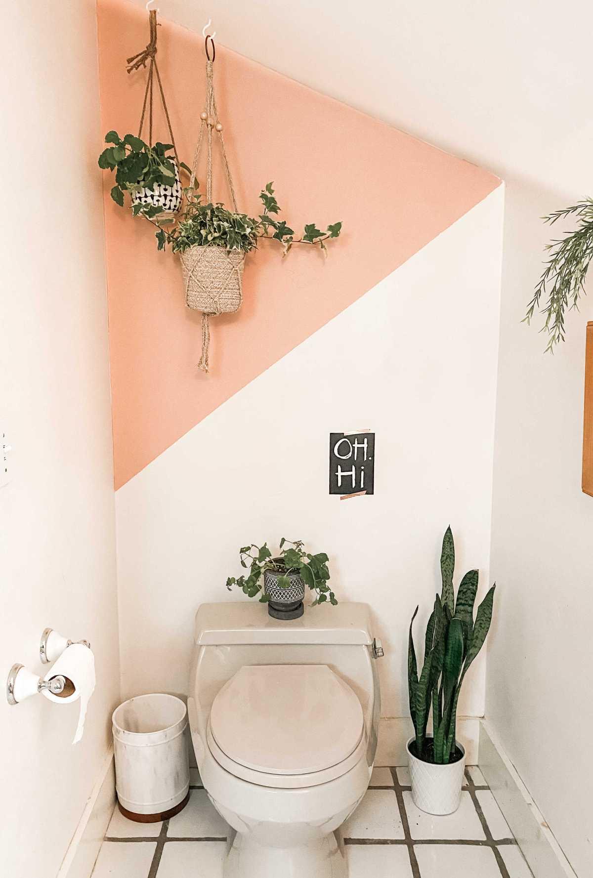 color block bathroom accent wall | Poplolly co