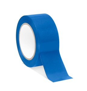 blue tape for color block bathroom accent wall | Poplolly co