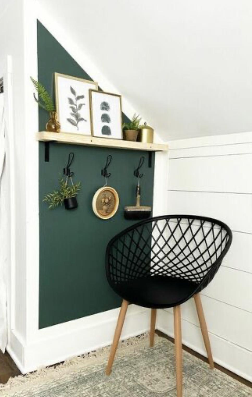 dark green color block accent wall | Poplolly co
