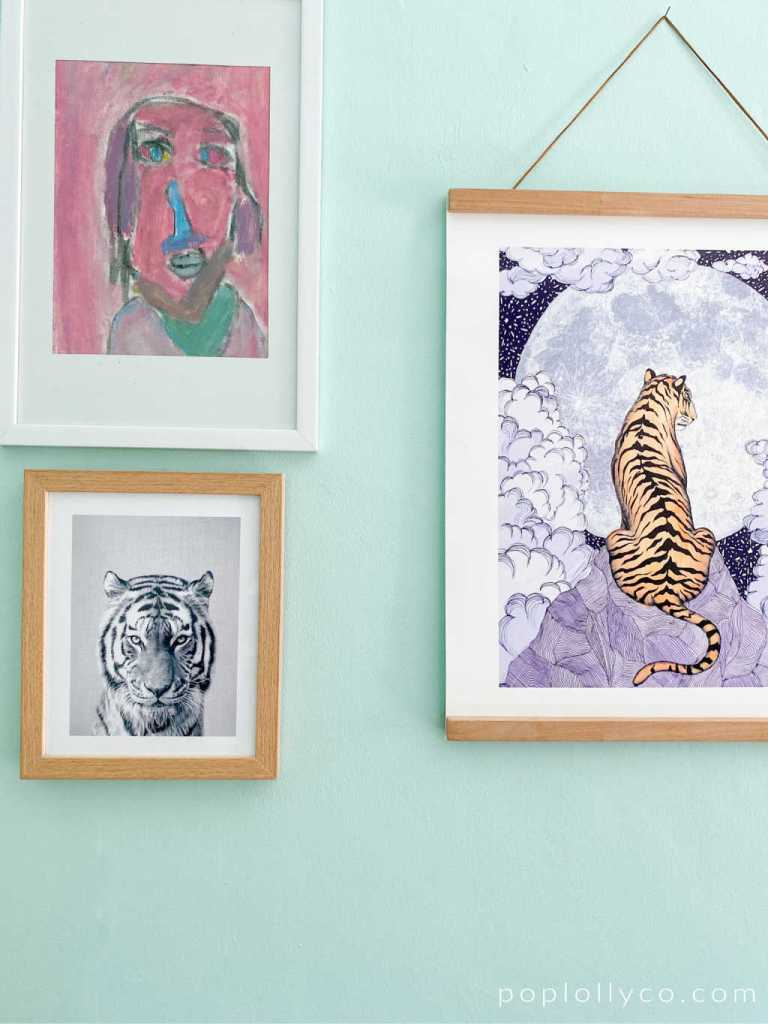 my daughters original art work and fun tiger prints #tigermoonart #blackwhiteanimalart #kidsroom #kidsspaces | Poplolly co