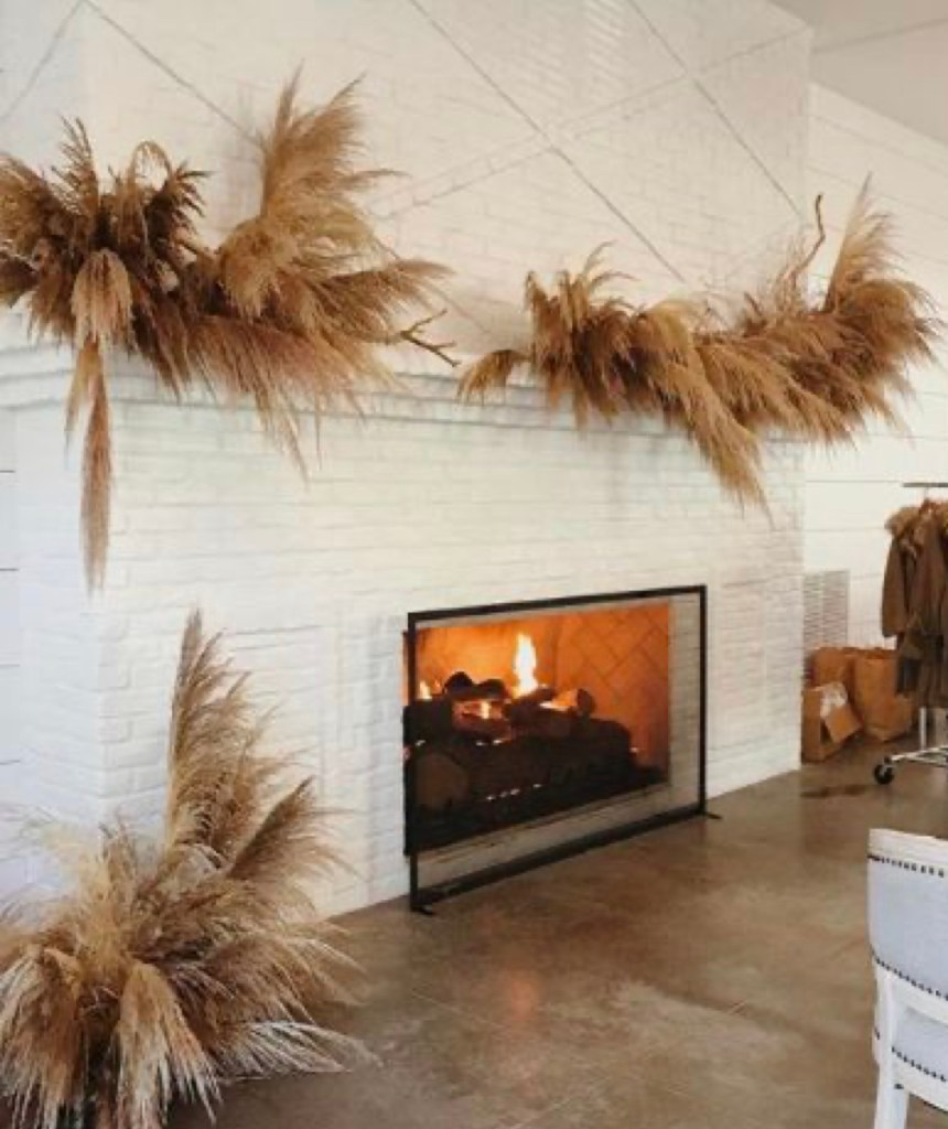 boho mantle with pampas grass | Poplolly co