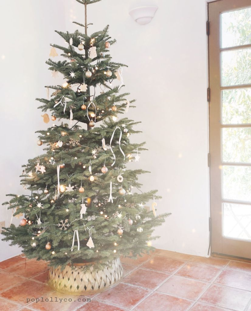 boho natural christmas tree with white and gold accents   Poplolly co