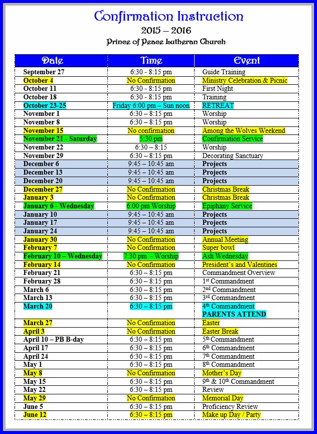 confirmation calendar pict