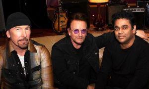 U2 e A.R. Rahman. Foto: Divulgação/Instagram (@u2)