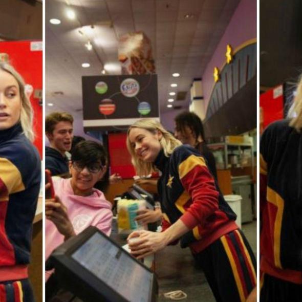 Brie Larson serve pipoca aos fãs