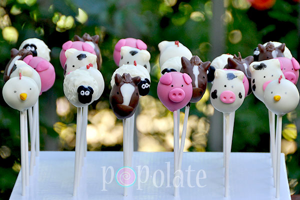 horse sheep pig cow hen cake pops