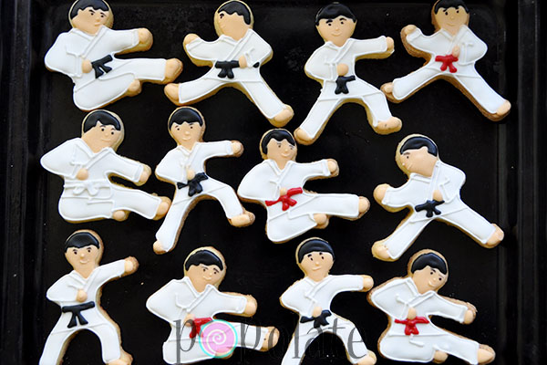 karate iced biscuits martial arts decorated cookies