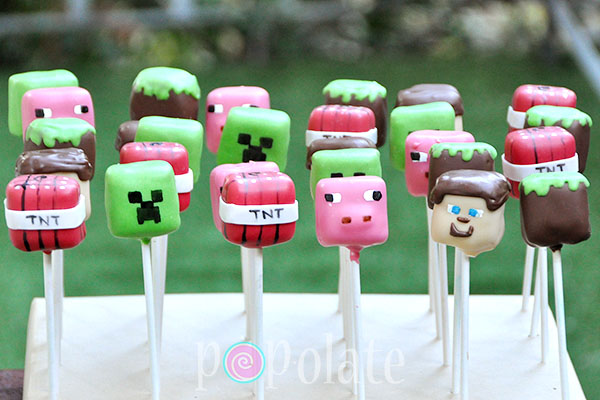 Minecraft cake pops Steve creeper TNT block pig