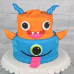Cute monster two tier cake