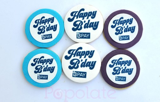 BPAY birthday cookies corporate logo
