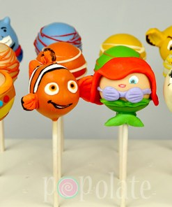 Disney cake pops Nemo, Ariel, Mrs Potts, Russell, Genie and Simba