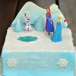 Frozen cake with mountain backdrop