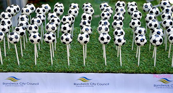 Soccer ball cake pops corporate cake pops