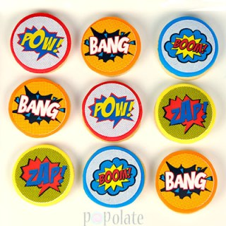 Superhero comic action words cookies edible image